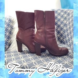 Tommy Hilfiger leather heel boots